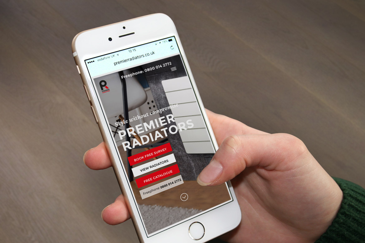 Premier Radiators Website on Mobile