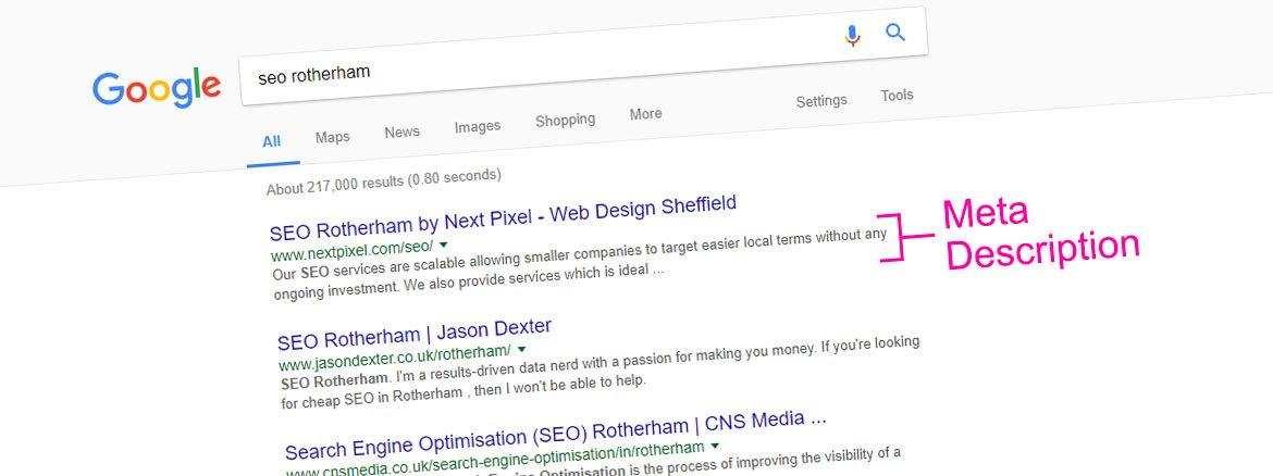 SEO rotherham meta description