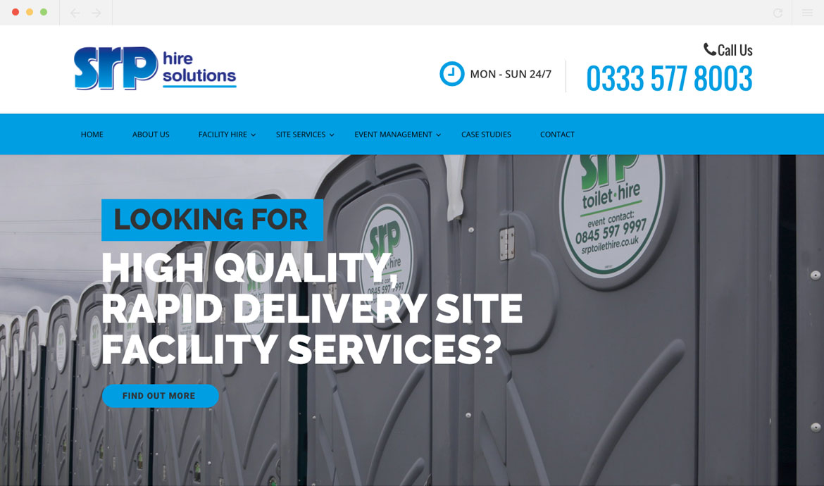 SRP Toilet Hire homepage