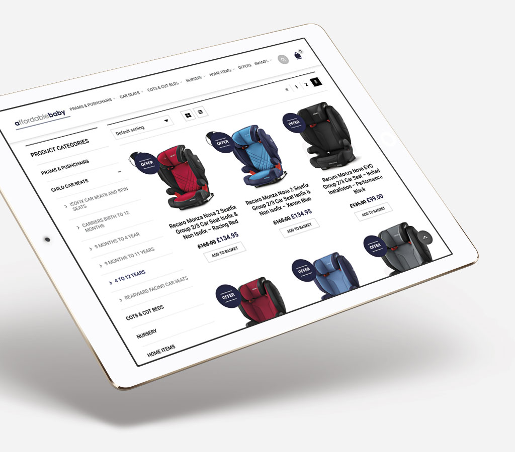 Affordable Baby Ecommerce Website on iPad