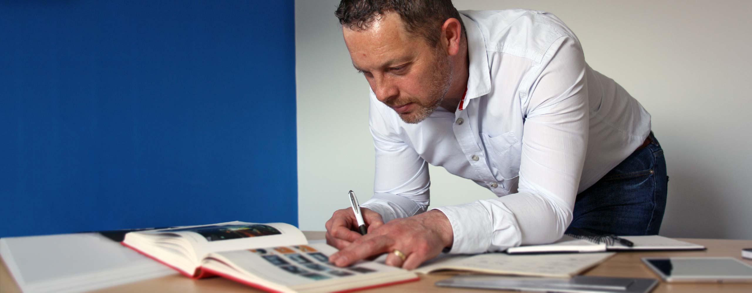 Richard doing designs for web
