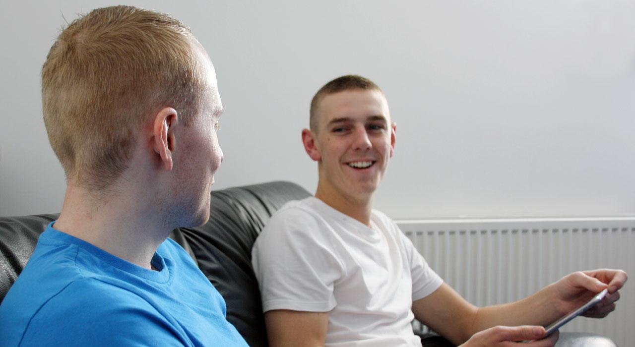 Lee and Matt on sofa