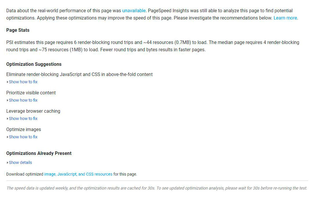 page speed links