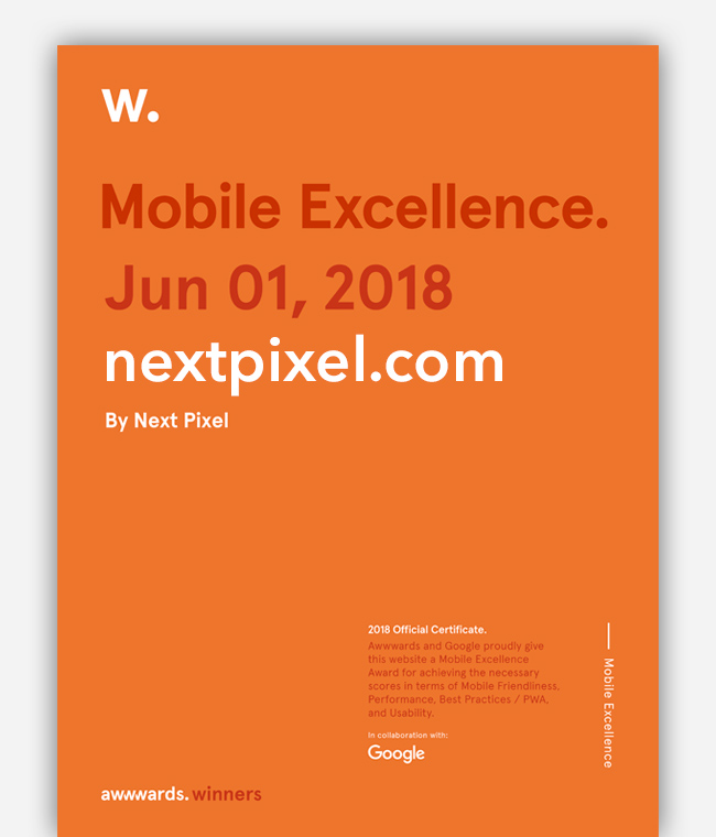Next Pixel Mobile Excellence Award